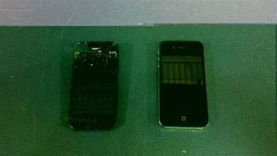 Before and after pictures of  iPhone 4 that we replaced the screen in for a customer
