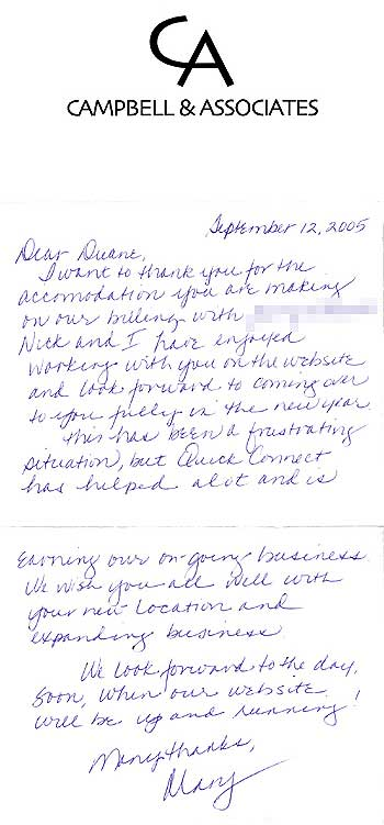 Cambell and Associates testimonial note