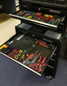 A well organized tool chest equals a well organized computer repair.