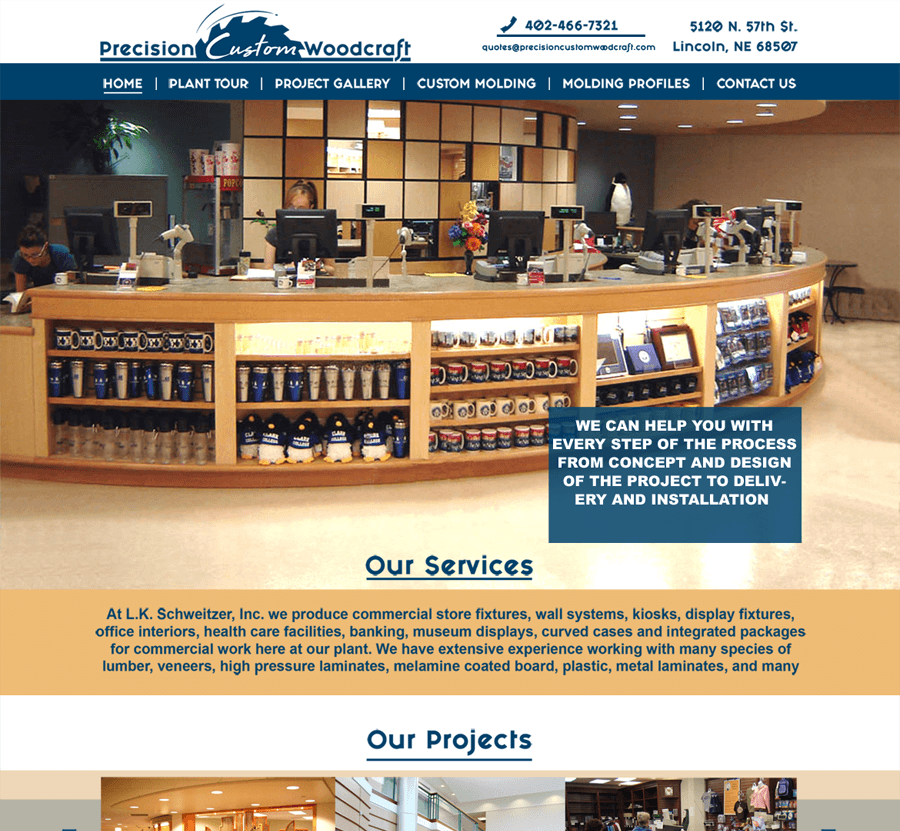 Quick Connect created a beautiful website for Precision Custom Woodcraft using WordPress